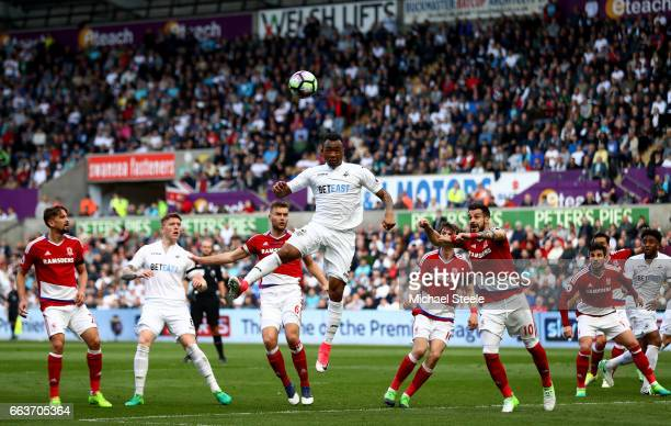 Jordan Ayew of Swansea City heads towards goal during the Premier League match between Swansea City and Middlesbrough at the Liberty Stadium on April...