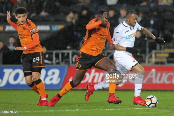 Jordan Ayew of Swansea City in action during the Emirates FA Cup match between Swansea and Wolverhampton Wanderers at the Liberty Stadium on January...