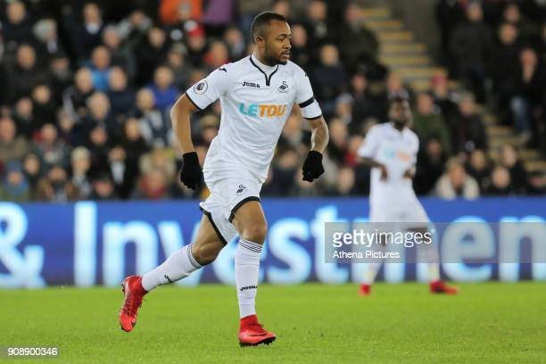 Jordan Ayew of Swansea City in action during the Premier League match between Swansea City and Liverpool at The Liberty Stadium on January 22 2018 in...