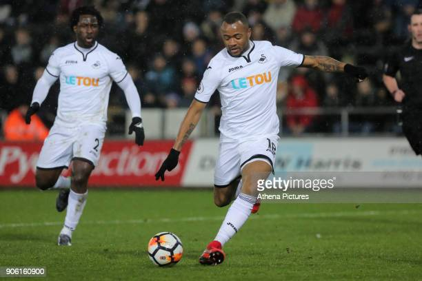 Jordan Ayew of Swansea City scores his opening goal during the Emirates FA Cup match between Swansea and Wolverhampton Wanderers at the Liberty...