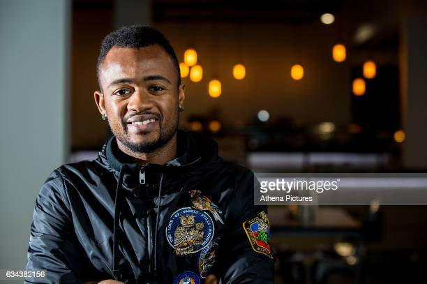 Jordan Ayew poses for a photo after signing a contract with Swansea City at The Fairwood Training Ground on February 08 2017 in Swansea Wales