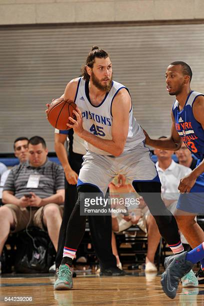Jordan Bachynski of Detroit Pistons handles the ball against the New York Knicks on July 2 2016 at the Amway Center in Orlando Florida NOTE TO USER...