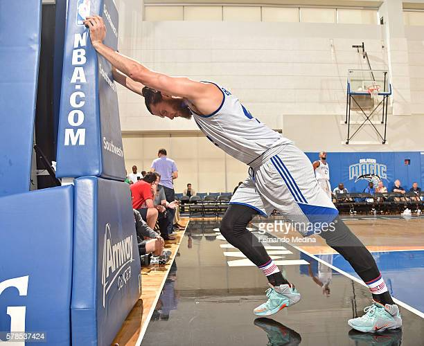 Jordan Bachynski of Detroit Pistons is seen against the Magic Blue during the 2016 Orlando Summer League on July 4 2016 at Amway Center in Orlando...