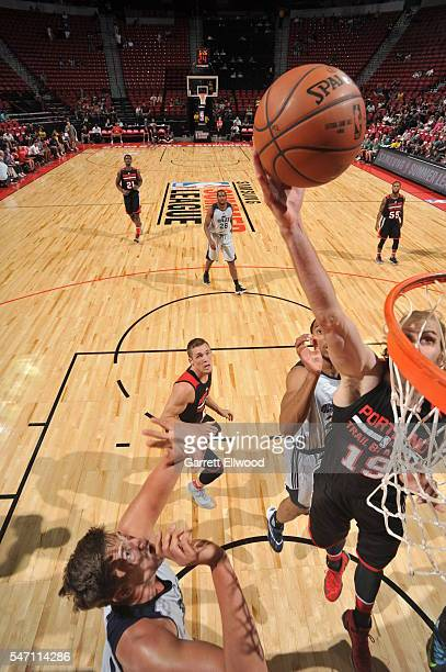 Jordan Bachynski of Portland Trailblazers dunks against the Utah Jazz during the 2016 Las Vegas Summer League on July 13 2016 at the Thomas Mack...