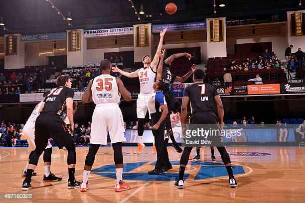 Jordan Bachynski of the Westchester Knicks and Nnanna Egwu of the Erie Bayhawks at the Westchester County Center on November 14 2015 in Westchester...