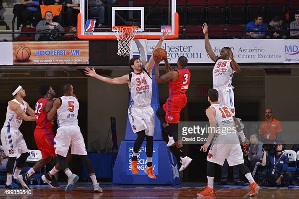 Jordan Bachynski of the Westchester Knicks blocks the basketball against Devin Ebanks of the Grand Rapids Drive at the Westchester County Center on...