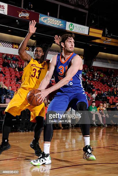 Jordan Bachynski of the Westchester Knicks controls the ball against Brandon Paul of the Canton Charge at the Canton Memorial Civic Center on March...