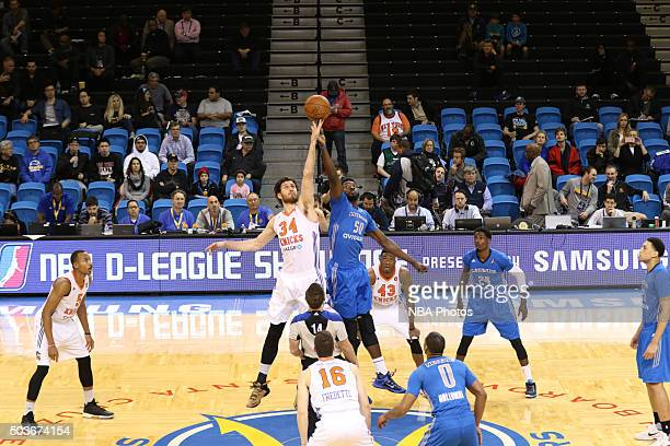 CRUZ CA JANUARY 6 Jordan Bachynski of the Westchester Knicks jumps for the ball at tip off against Micheal Eric of the Texas Legends during an NBA...