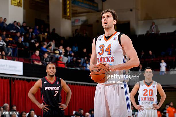 Jordan Bachynski of the Westchester Knicks prepares to shoot a free throw against the Sioux Falls Skyforce on November 20 2015 at the Westchester...