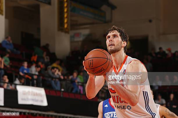 Jordan Bachynski of the Westchester Knicks shoots a foul shot against the Delaware 87ers at the Westchester County Center on December 12 2015 in...