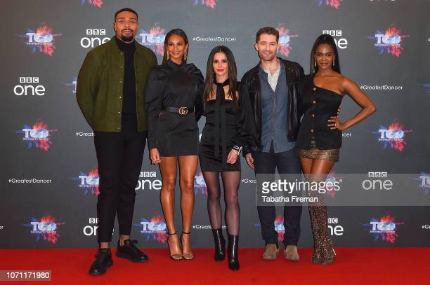 Jordan Banjo Alesha Dixon Cheryl Matthew Morrison and Oti Mabuse attend a photocall for the BBC's The Greatest Dancer at The May Fair Hotel on...