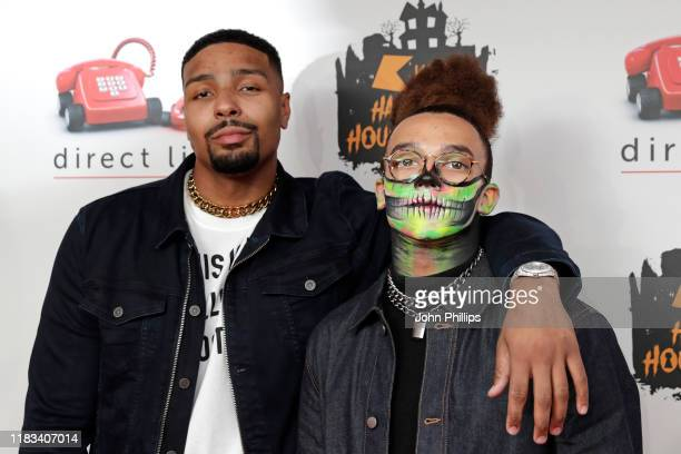 Jordan Banjo and Perri Kiely attend the KISS Haunted House Party 2019 at The SSE Arena Wembley on October 25 2019 in London England