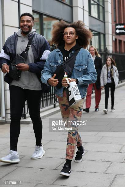 Jordan Banjo and Perri Kiely from dance group Diversity seen in Soho on April 24 2019 in London England
