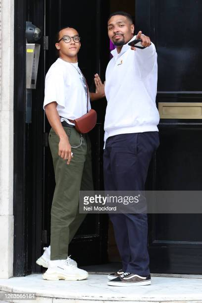 Jordan Banjo and Perri Kiely seen outside KISS Breakfast Studios after their first day on their new show on August 03 2020 in London England