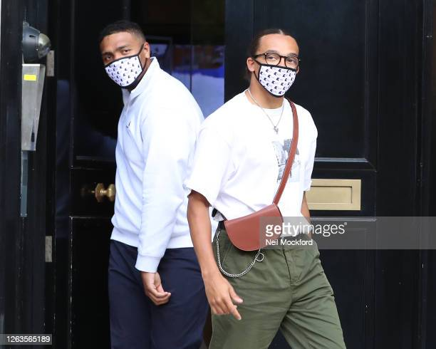 Jordan Banjo and Perri Kiely seen outside KISS Breakfast Studios after their first day on their new show on August 03, 2020 in London, England.