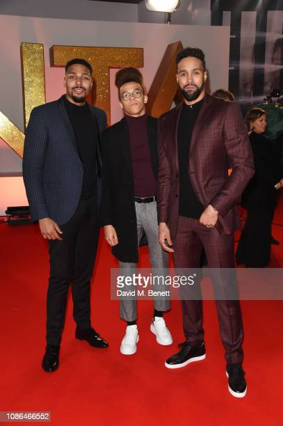 Jordan Banjo Perri Kiely and Ashley Banjo attend the National Television Awards held at The O2 Arena on January 22 2019 in London England