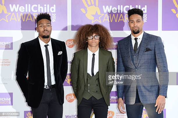 Jordan Banjo Perri Kiely and Ashley Banjo of Diversity attend the WellChild Awards at The Dorchester on October 3 2016 in London England