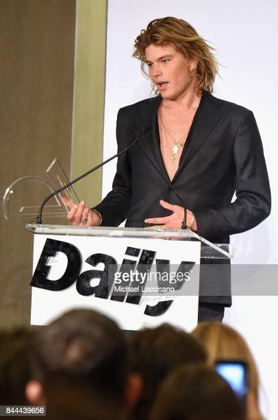 Jordan Barrett accepts the award for Male Model of the Year onstage during the Daily Front Row's Fashion Media Awards at Four Seasons Hotel New York...