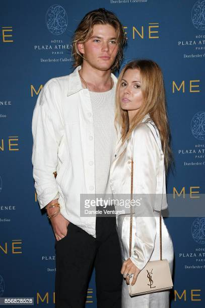 Jordan Barrett and Elizabeth Sulcer attend MENE Collection Celebrations during Paris Fashion Week SS18 on October 2 2017 in Paris France