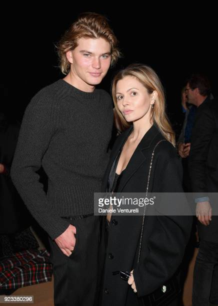 6120957e Jordan Barrett and Elizabeth Sulcer attend the Roberto Cavalli show during  Milan Fashion Week Fall/. Editorial use only