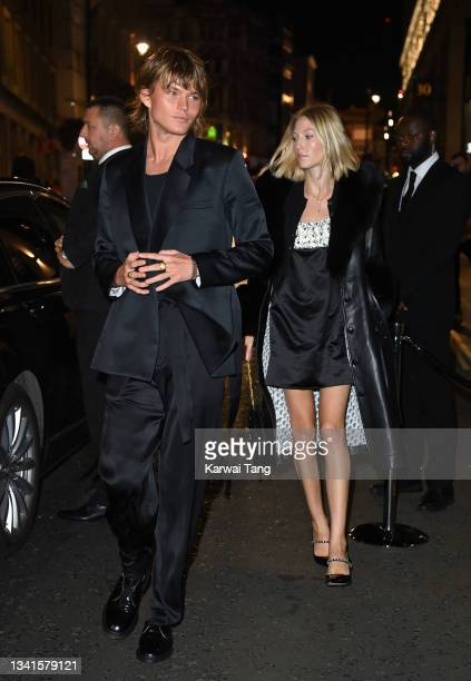 Jordan Barrett and Ella Richards attend the British Vogue x Tiffany & Co. Fashion and Film party at The Londoner Hotel on September 20, 2021 in...