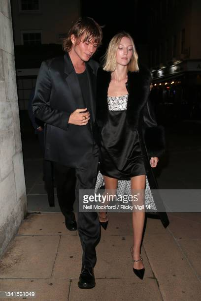 Jordan Barrett and Ella Richards seen attending Loulou's re-opening party during London Fashion Week September 2021 on September 20, 2021 in London,...