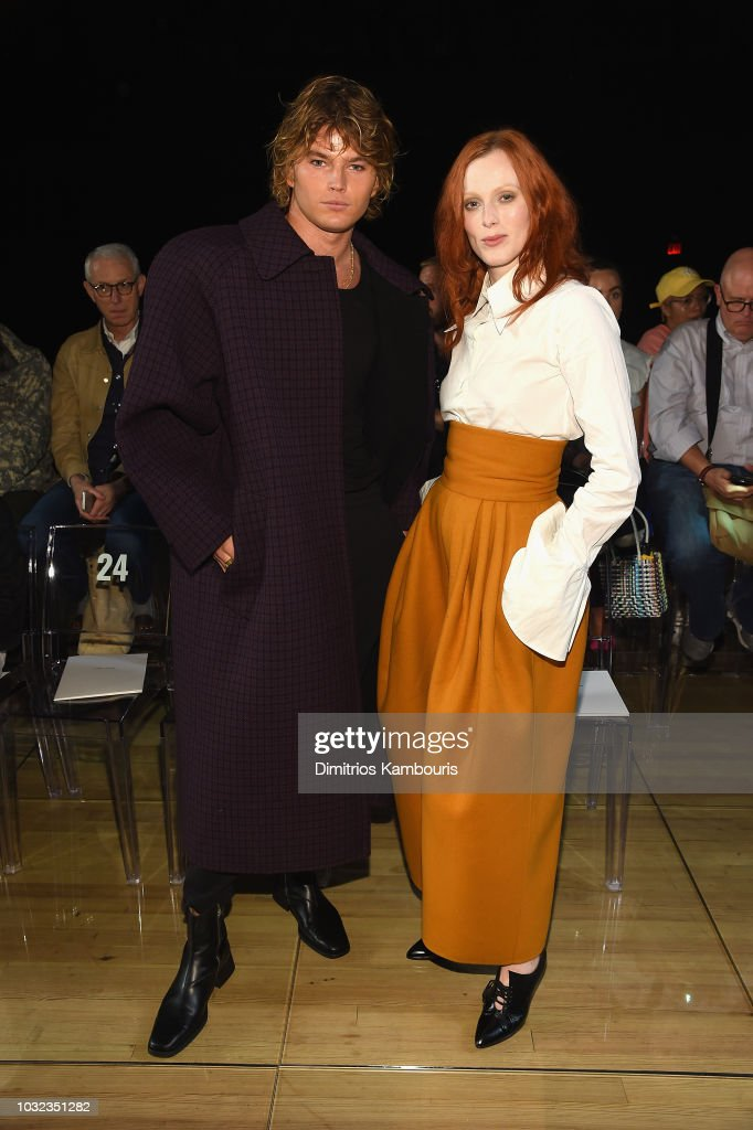 Jordan Barrett and Karen Elson attend the Marc Jacobs Spring 2019 Runway Front Row during New York Fashion Week: The Shows at Park Avenue Armory on September 12, 2018 in New York City.
