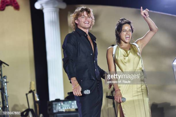 Jordan Barrett and Michelle Rodriguez attend the Unicef Summer Gala Presented by Luisaviaroma afterparty at Villa Violina on August 10 2018 in Porto...