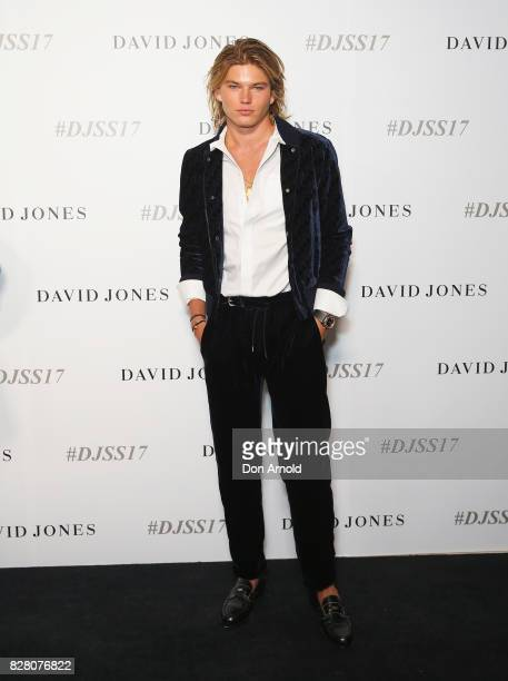 Jordan Barrett arrives ahead of the David Jones Spring Summer 2017 Collections Launch at David Jones Elizabeth Street Store on August 9 2017 in...