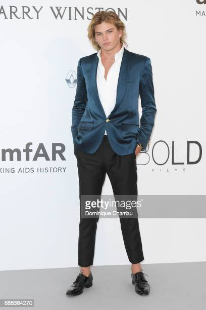 Jordan Barrett arrives at the amfAR Gala Cannes 2017 at Hotel du CapEdenRoc on May 25 2017 in Cap d'Antibes France