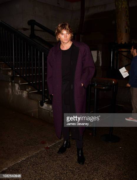 Jordan Barrett arrives to the Marc Jacobs fashion show at Park Avenue Armory on September 12 2018 in New York City