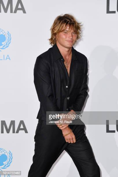 Jordan Barrett attends a photocall for the Unicef Summer Gala Presented by Luisaviaroma at Villa Violina on August 10 2018 in Porto Cervo Italy