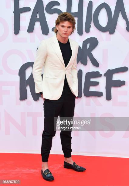 Jordan Barrett attends Fashion For Relief Cannes 2018 during the 71st annual Cannes Film Festival at Aeroport Cannes Mandelieu on May 13 2018 in...