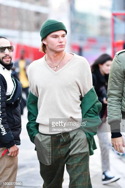 Jordan Barrett attends the Jacquemus Menswear Fall/Winter 20202021 show as part of Paris Fashion Week on January 18 2020 in Paris France