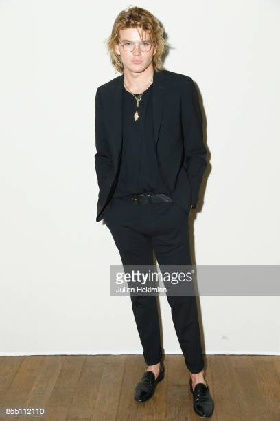 Jordan Barrett attends the Paco Rabanne show as part of the Spring Summer 2018 Womenswear Show at Grand Palais on September 28 2017 in Paris France