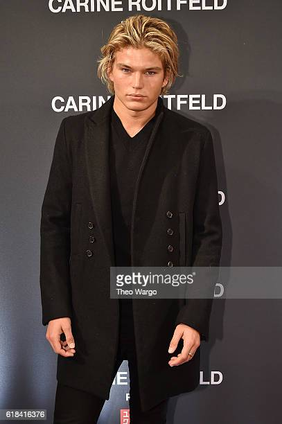 Jordan Barrett attends the UNIQLO Fall/Winter 2016 Carine Roitfeld collection launch at UNIQLO on October 26 2016 in New York City