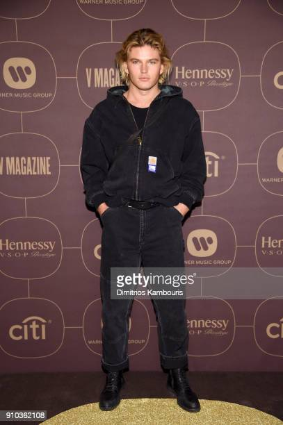 Jordan Barrett attends the Warner Music Group PreGrammy Party in association with V Magazine on January 25 2018 in New York City