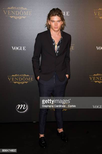 Jordan Barrett attends Vogue Party as part of the Paris Fashion Week Womenswear Spring/Summer 2018 at on October 1 2017 in Paris France