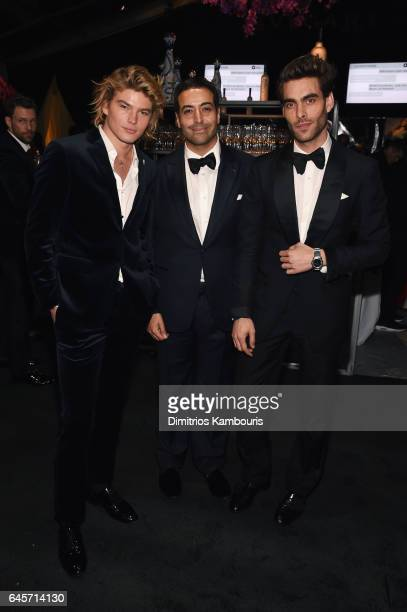 Jordan Barrett Mohammed Al Turki and model Jon Kortajarena attend the 25th Annual Elton John AIDS Foundation's Academy Awards Viewing Party at The...