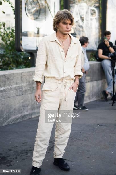 Jordan Barrett seen in the streets of Paris during Paris Fashion Week Spring/Summer 2019 on September 26 2018 in Paris France