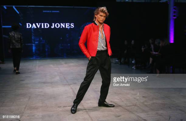 Jordan Barrett showcases designs by Emporio Armani during the media rehearsal ahead of the David Jones Autumn Winter 2018 Collections Launch at...