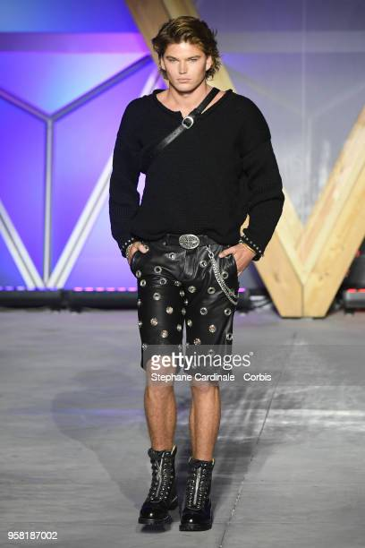 Jordan Barrett walks the runway at Fashion For Relief Cannes 2018 during the 71st annual Cannes Film Festival at Aeroport Cannes Mandelieu on May 13...
