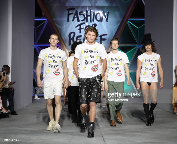 Jordan Barrett walks the runway during Fashion For Relief Cannes 2018 during the 71st annual Cannes Film Festival at Aeroport Cannes Mandelieu on May...