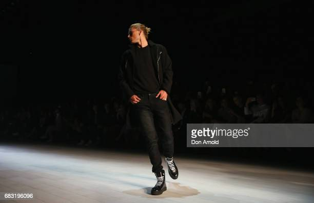 Jordan Barrett walks the runway during the Justin Cassin show at MercedesBenz Fashion Week Resort 18 Collections at Carriageworks on May 15 2017 in...