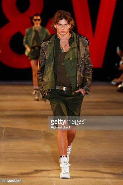 Jordan Barrett walks the runway during the Zadig Voltaire show as part of the Paris Fashion Week Womenswear Spring/Summer 2019 on September 29 2018...