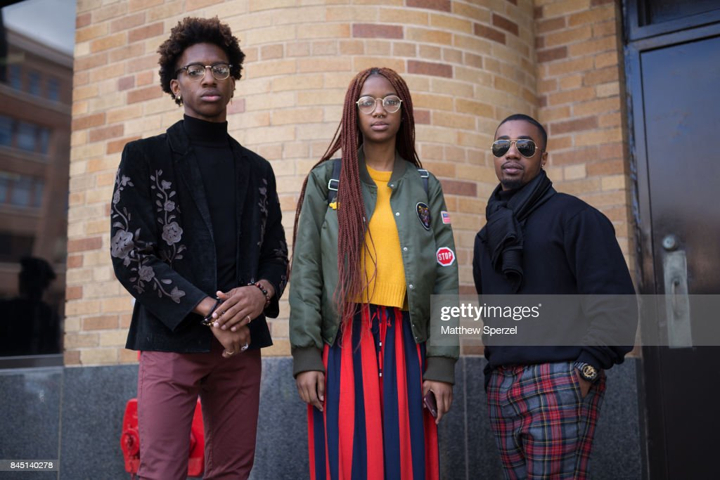 Jordan Bartley, Brandon Thomas, and Tiara Vonn are seen attending Son Jung Wan during New York Fashion Week wearing Forever 21, H&M, Tommy Hilfiger, ASOS on September 9, 2017 in New York City.