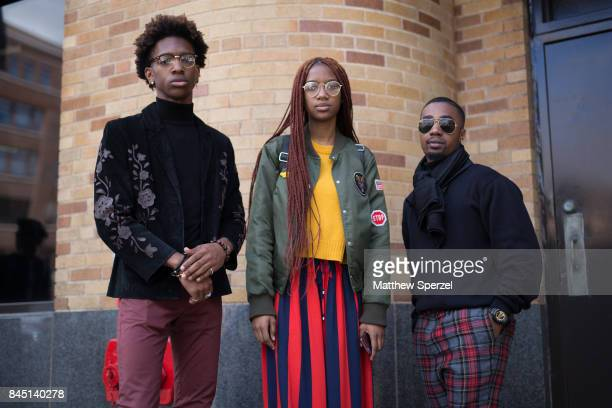 Jordan Bartley Brandon Thomas and Tiara Vonn are seen attending Son Jung Wan during New York Fashion Week wearing Forever 21 HM Tommy Hilfiger ASOS...