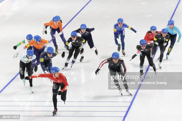 Jordan Belchos of Canada and Viktor Hald Thorup of Denmark compete in the Men Mass Start during the ISU World Single Distances Speed Skating...