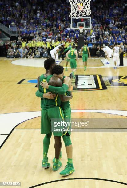 Jordan Bell and Dillon Brooks of the Oregon Ducks embrace at the end of the second half against the Kansas Jayhawks during the 2017 NCAA Men's...