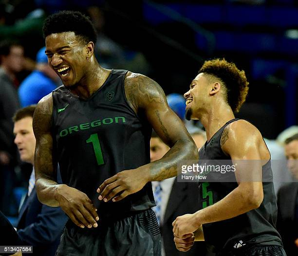 Jordan Bell and Tyler Dorsey of the Oregon Ducks celebrate a 7668 win over the UCLA Bruins at Pauley Pavilion on March 2 2016 in Los Angeles...